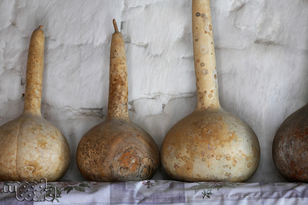 Old Gourds on a Shelf in Ancient Village House
