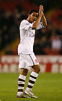 Photo: Steve Bond.<br /> Sheffield United v Arsenal. Carling Cup. 31/10/2007. Theo Walcott applau8ds the crowd as he is substituted