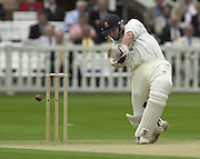 .Photo Peter Spurrier.Sport - Cricket.22/06/02.Bensen & Hedges Cup Final Lords Ground.Nasser Hussian get's an edge and losses his wicket to the second ball of the first over. [Mandatory Credit: Peter Spurrier:Intersport Images]