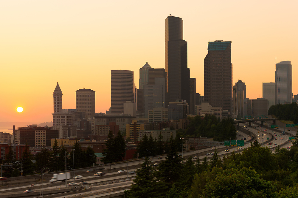 Interstate 5 and downtown at sunset, Seattle, Washington State, USA