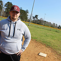 """RAY VAN DUSEN/BUY AT PHOTOS.MONROECOUNTYJOURNAL.COM<br /> Nearly hired Smithville Park and Recreation Coordinator Brian O'Mary stands by first base of a softball field at Johnny """"Hoss"""" Noe Memorial Sportsplex. The town government's move to officially have a park and recreation department is a sign of progress."""