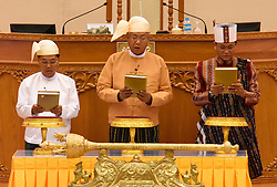 Myanmar's newly-elected president U Htin Kyaw (C), military-assigned First Vice President U Myint Swe (L) and second vice president of the National League for Democracy (NLD) U Henry Van Thio take the oath at the Union Parliament in Nay Pyi Taw, Myanmar, March 30, 2016. EXPA Pictures © 2016, PhotoCredit: EXPA/ Photoshot/ MOI<br /> <br /> *****ATTENTION - for AUT, SLO, CRO, SRB, BIH, MAZ, SUI only*****