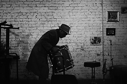 NEW YORK, NY - APRIL 1:  Legendary jazz drummer Billy Kaye, 86, sets up his drums at the restaurant BEA on 43rd Street and 9th Avenue in New York, NY, April 1, 2017. Kaye only lives a block away from the venue where he perform with three, much younger fellow jazz musicians every Saturday and Sunday from noon to 4 pm. He started this gig last summer in 2016. (Photo by Astrid Riecken)
