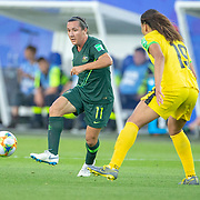 GRENOBLE, FRANCE June 18.  Lisa De Vanna #11 of Australia defends by Toriana Patterson #19 of Jamaica during the Jamaica V Australia, Group C match at the FIFA Women's World Cup at Stade des Alpes on June 18th 2019 in Grenoble, France. (Photo by Tim Clayton/Corbis via Getty Images)