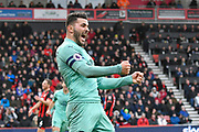Goal - Sead Kolasinac (31) of Arsenal celebrates after Pierre-Emerick Aubameyang (14) of Arsenal scored the winning goal to make the score 1-2 during the Premier League match between Bournemouth and Arsenal at the Vitality Stadium, Bournemouth, England on 25 November 2018.