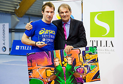 Grega Zemlja, best player and Mark Umberger at Tennis exhibition day and Slovenian Tennis personality of the year 2013 annual awards presented by Slovene Tennis Association TZS, on December 21, 2013 in BTC City, TC Millenium, Ljubljana, Slovenia.  Photo by Vid Ponikvar / Sportida