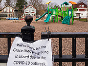 """04 APRIL 2020 - DES MOINES, IOWA: The closed playground at a United Methodist Church in Des Moines. On Saturday morning, 04 April, Iowa reported 786 confirmed cases of the Novel Coronavirus (SARS-CoV-2) and COVID-19. There have been 14 deaths attributed to COVID-19 in Iowa. Restaurants, bars, movie theaters, places that draw crowds are closed until 30 April. The Governor has not ordered """"shelter in place"""" but several Mayors, including the Mayor of Des Moines, have asked residents to stay in their homes for all but the essential needs. People are being encouraged to practice """"social distancing"""" and many businesses are requiring or encouraging employees to telecommute.        PHOTO BY JACK KURTZ"""