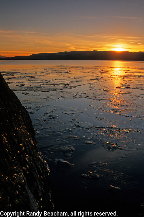 Flathead Lake at sunset in winter. Flathead Valley, northwest Montana