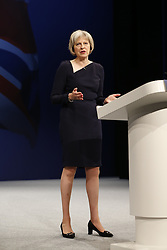 © Licensed to London News Pictures. 06/10/2015. Manchester, UK. Home Secretary Theresa May speaking at Conservative Party Conference at Manchester Central on Tuesday, 6 October 2015. Photo credit: Tolga Akmen/LNP