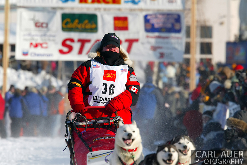 3/4/2007:  Willow, Alaska -  Veteran Karen Ramstead of Perryvale, Alberta Canada heads out in the 35th Iditarod Sled Dog Race