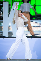 Kylie Minogue performing on the Pyramid Stage on the fifth day of the Glastonbury Festival at Worthy Farm in Somerset.