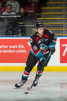KELOWNA, CANADA - OCTOBER 10:  Ethan Ernst #19 of the Kelowna Rockets skates with the puck against the Seattle Thunderbirds on October 10, 2018 at Prospera Place in Kelowna, British Columbia, Canada.  (Photo by Marissa Baecker/Shoot the Breeze)  *** Local Caption ***