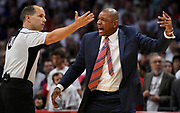 referee John Goble #30 has words with LA Clippers head coach Doc Rivers in the second half. The Utah Jazz defeated the Los Angeles Clippers 96-92 in game 5 of the first round in the Western Conference NBA playoffs. Los Angeles, CA. 4/22/2017 Photo by John McCoy/Los Angeles Daily News (SCNG)
