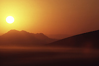 Sunrise over the dunes of Sossusvlei in southern Namibia.