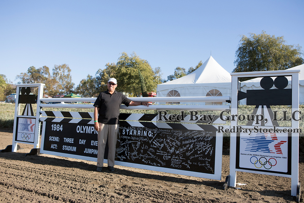 Outgoing USEA President, Brian Sabo in front of one of the jumps he designed for the 1984 Olympic Games held in Los Angeles, California at the Galway Downs International Three Day Event in Temecula, California. The jump was signed by all the riders including Ian Stark who designed the cross-country course at Galway Downs.
