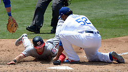 June 7, 2017 - Los Angeles, California, U.S. - Washington Nationals' Trea Turner is tagged out at home plate by Los Angeles Dodgers relief pitcher Pedro Baez (52) in the seventh inning of a Major League baseball game at Dodger Stadium on Wednesday, June 7, 2017 in Los Angeles. Los Angeles Dodgers won 2-1. (Photo by Keith Birmingham, Pasadena Star-News/SCNG) (Credit Image: © San Gabriel Valley Tribune via ZUMA Wire)