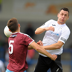 TELFORD COPYRIGHT MIKE SHERIDAN Aaron Williams of Telford and Toby Lees of Gateshead during the National League North fixture between AFC Telford United and Gateshead FC at the New Bucks Head Stadium on Saturday, August 10, 2019<br /> <br /> Picture credit: Mike Sheridan<br /> <br /> MS201920-005