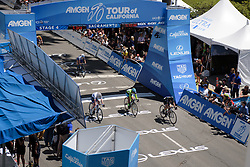 Giorgia Bronzini wins the intermediate sprint whilst Anna van der Breggen gets the two seconds she need to take the General Classification at Amgen Breakaway from Heart Disease Women's Race empowered with SRAM (Tour of California) - Stage 4. A 20 lap criterium in Sacramento, USA on 14th May 2017.