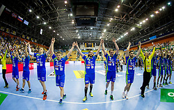 Players of Slovenia celebrate after winning during handball match between National Teams of Slovenia and Norway in Play Off Phase 2 of 2017 Men's World Championship Qualifications, on June 11, 2016 in Arena Zlatorog, Celje, Slovenia. Photo by Vid Ponikvar / Sportida