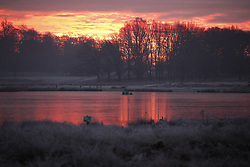 © Licensed to London News Pictures. 24/01/2019. London, UK. The sun rises over frozen Pen Ponds in Richmond Park, West London on a cold winter morning, as temperatures across the UK drop dramatically. Some parts of the UK are expecting snowfall following a spell of low temperatures. Photo credit: Peter Macdiarmid/LNP
