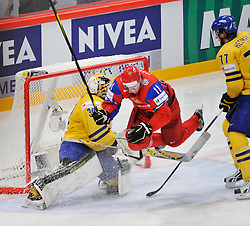 11.05.2012, Ericsson Globe, Stockholm, SWE, IIHF, Eishockey WM, Russland (RUS) vs Schweden (SWE), im Bild, Russia 11 Yevgeni Malkin (Pittburgh Penguins) flying // during the IIHF Icehockey World Championship Game between Russia (RUS) and Sweden (SWE) at the Ericsson Globe, Stockholm, Sweden on 2012/05/11. EXPA Pictures © 2012, PhotoCredit: EXPA/ PicAgency Skycam/ Simone Syversson..***** ATTENTION - OUT OF SWE *****