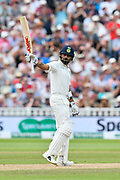 50 for Virat Kohli (captain) of India - Virat Kohli (captain) of India celebrates scoring a half century during second day of the Specsavers International Test Match 2018 match between England and India at Edgbaston, Birmingham, United Kingdom on 2 August 2018. Picture by Graham Hunt.