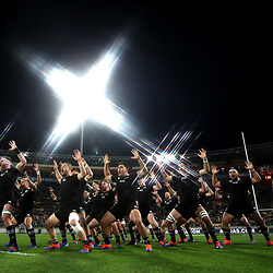 The All Blacks perform the haka ahead of the 2019 Rugby Championship Test Match between New Zealand and South Africa at Westpac Stadium in Wellington, New Zealand on Saturday, 27 July 2019. Photo by Hannah Peters / POOL