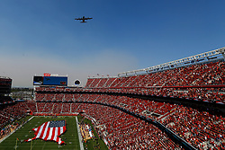 SANTA CLARA, CA - OCTOBER 07: An HC-130J performs a flyover prior to the NFL game between the San Francisco 49ers and the Arizona Cardinals at Levi's Stadium on October 7, 2018 in Santa Clara, California. (Photo by Jason O. Watson/Getty Images)