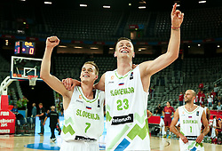 Klemen Prepelic of Slovenia and Alen Omic of Slovenia celebrate after winning during basketball match between Slovenia and Macedonia at Day 6 in Group C of FIBA Europe Eurobasket 2015, on September 10, 2015, in Arena Zagreb, Croatia. Photo by Vid Ponikvar / Sportida ###THIS IMAGE IS JUST FOR USE IN SLOVENIA!!! ###
