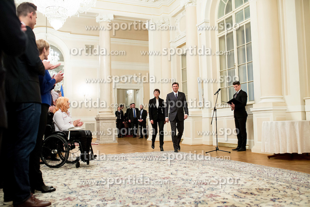 Maja Makovec Brencic and Borut Pahor during reception of Slovenian Athletes at president of Republic of Slovenia before  Best sports personality of the year 2015 awards, on December 8, 2015 in President palace, Ljubljana, Slovenia. Photo by Vid Ponikvar / Sportida