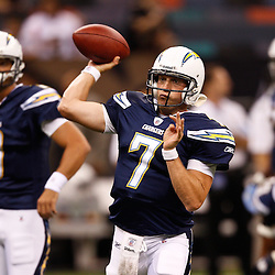 August 27, 2010; New Orleans, LA, USA; San Diego Chargers quarterback Billy Volek (7) prior to the start of a preseason game at the Louisiana Superdome. The New Orleans Saints defeated the San Diego Chargers 36-21. Mandatory Credit: Derick E. Hingle