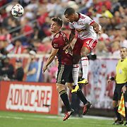 HARRISON, NEW JERSEY- OCTOBER 15: Mikey Ambrose #22 of Atlanta United and Tyler Adams #4 of New York Red Bulls challenge for the ball during the New York Red Bulls Vs Atlanta United FC, MLS regular season match at Red Bull Arena, Harrison, New Jersey on October 15, 2017 in Harrison, New Jersey. (Photo by Tim Clayton/Corbis via Getty Images)