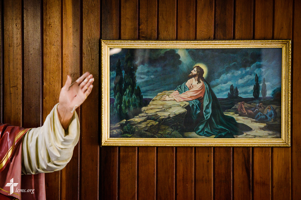 A painting depicting Jesus Christ praying in Gethsemane (Matthew 26:36) at Ascension Lutheran School on Wednesday, April 5, 2017, in Gary, Ind. LCMS Communications/Erik M. Lunsford