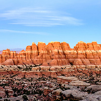 A beautiful panorama of the needles in Elephant Canyon.