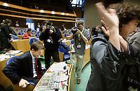 Nederland. Den Haag, 19 september 2007.<br /> Tweede dag algemene politieke beschouwingen in de tweede kamer.<br /> Femke Halsema was in gesprek met Mark Rutte na diens speech, begin van de lunchpauze.<br /> Foto Martijn Beekman <br /> NIET VOOR TROUW, AD, TELEGRAAF, NRC EN HET PAROOL