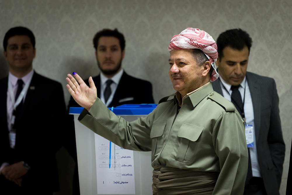 President of the Kurdistan Regional Government Massoud Barzani casts his vote in the referendum on Kurdish independence.