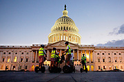 Tourists cruise around on segways outside the US Capitol Building on Capitol Hill. The Congress Building is divided into the Senate and the House.