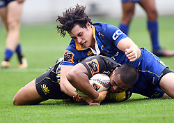 Wellington's Julian Savea scores in the tackle of Otago's Jonathan Ruru in the Mitre 10 Rugby match at Westpac Stadium, Wellington, New Zealand, Sunday October 01,, 2017. Credit:SNPA / Ross Setford  **NO ARCHIVING**