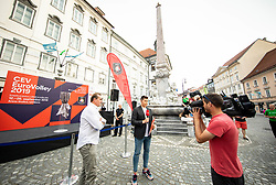 OZS President Metod Ropret presented a glittering gold-plated EuroVolley trophy with 99 days to go and 99 Mini Volleyball courts were available in Ljubljana downtown to promote the CEV EuroVolley 2019 Men, on June 5th, 2019, in front of the Town Hall, Ljubljana, Slovenia. Photo by Vid Ponikvar / Sportida