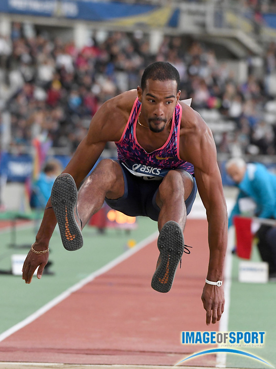 Jul 1, 2017; Paris, France; Christian Taylor (USA) wins the triple jump at 56-8 3/4 (17.29m) during the Meeting de Paris in an IAAF Diamond League meet at Stade Charlety.