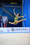 Vladinova Neviana during qualifying at clubs in Pesaro World Cup 02 April 2016. Neviana is a gymnast from Bulgaria. She is born in Pleven February 23, 1994. Her dream is to win a medal at the 2020 Olympic Games in Tokyo.