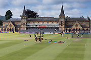 General view of the ground and pavillion before the Specsavers County Champ Div 2 match between Gloucestershire County Cricket Club and Leicestershire County Cricket Club at the Cheltenham College Ground, Cheltenham, United Kingdom on 15 July 2019.