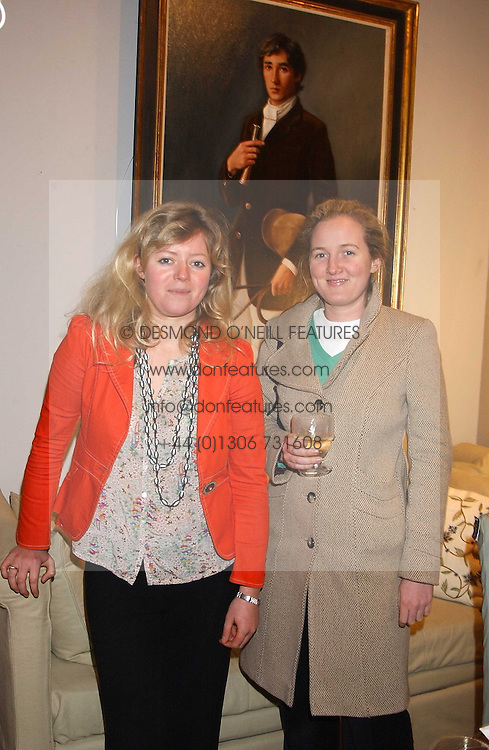 Left to right,CATHERINE CAZALET and TATIANA SLOANE at a private view of paintings by Sophie Gilbart-Denham held at OKA, The Coachworks, 80 Parsons Green Lane, London SW6 on 6th November 2005.<br />