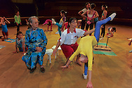 Mongolia. Ulaanbaatar. MrsTend Ayouch and Noror Sambu  Contorsionisme lesson in the national circus   Oulan Bator Ulan Baatar       /  Mme Tend Ayouch et son eleve Noror Sambu cours de Contorsionisme au cirque national  Oulan Bator Ulan Baatar   Mongolie