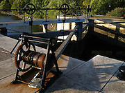 The gear at the first lock in a series of locks connecting Rideau canal with Ottawa river in Ottawa, ON, Canada
