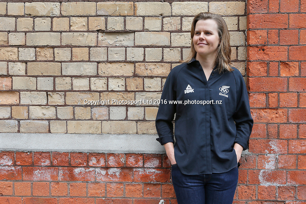 Polly Powrie, women's 470 sailors, New Zealand Yachting team pre-departure media session ahead of the Rio 2016 Olympic Games. Zhik shop, Victoria Park Markets, Auckland, 26 July 2016. Copyright Image: William Booth / www.photosport.nz