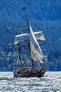 USA, Oregon, Hood River,  Hawaiian Chieftain  of the Grays Harbor Historical Seaport Authority.