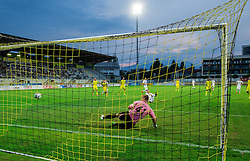 Igor Matic of Cukaricki scores penalty shot vs Nejc Vidmar of Domzale during 1st Leg football match between NK Domzale (SLO) na FC Cukaricki (SRB) in 1st Round of Europe League 2015/2016 Qualifications, on July 2, 2015 in Sports park Domzale,  Slovenia. Photo by Vid Ponikvar / Sportida