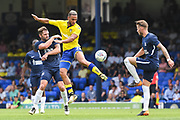 Leeds United Midfielder Kemar Roofe (7) is up against the Southend United defence during the Pre-Season Friendly match between Southend United and Leeds United at Roots Hall, Southend, England on 22 July 2018. Picture by Stephen Wright.