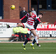 Hamilton&rsquo;s Alexandre D'Acol and Dundee&rsquo;s Daniel Higgins - Dundee v Hamilton Academical in the Ladbrokes Scottish Premiership at Dens Park, Dundee, Photo: David Young<br /> <br />  - &copy; David Young - www.davidyoungphoto.co.uk - email: davidyoungphoto@gmail.com